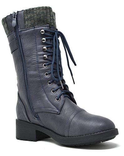 DREAM PAIRS Damen Winter Kunstpelz gefütterte Kragen Gummi Outsole Snow Ankle Boots Booties Blau-a
