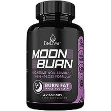 MoonBurn Fat Burner Weight Loss Pills for Women and Men. Sleep Aid Supplement, Stimulant-Free, Carb Blocker & Appetite Suppressant with Garcinia Cambogia, Green Tea & CLA – 60 Caps