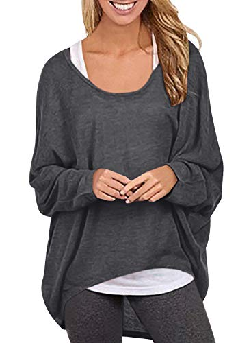 Yidarton Womens Sweater Casual Oversized Baggy Off-Shoulder Long Sleeve Pullover Shirts Tops (X-Large, Deep Gray-1)