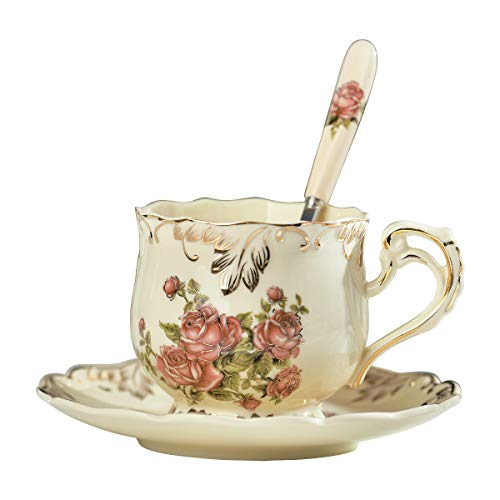 YOLIFE Rose Pattern Ivory Ceramic Coffee Cup and Saucer set,Vintage Tea Cup Set