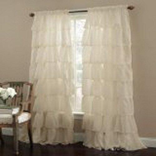 Blackpeel 2 Piece Ivory Gypsy Ruffled Window Curtain Treatment Panels Drape 84″ Length