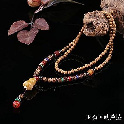 Girl Fashion Long Wood Jewelry Wood Beads Necklace Sweater Chain Pendant