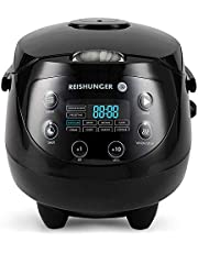 Reishunger Digital Mini Rice Cooker (0.6 l / 350 W / 220 V) Multi-Cooker with 8 programmes, White, 7-Phase Technology, Premium Inner Pot, Timer and Keep Warm Function - Rice for up to 3 People