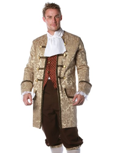 [Underwraps Men's Colonial Man, Tan/Brown/Rust, One Size] (Ben Franklin Adult Mens Costumes)