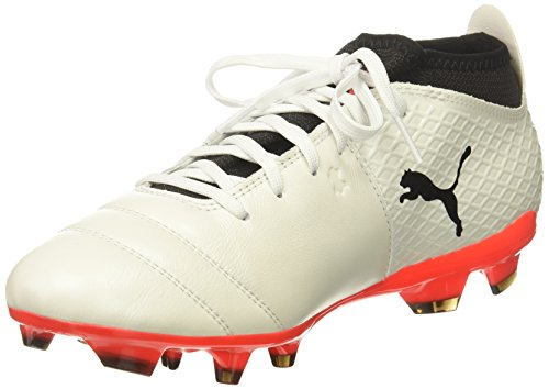 14 Firm Ground Soccer Shoes - PUMA Men's One 17.2 FG Soccer Shoe, White Black-Fiery Coral, 14 M US