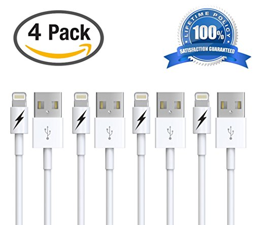 Zeus Products iPhone 6 & 7 Charger Cable - Certified Lightning to USB Charging Cord Connector - Durable & Fast (4 PACK)