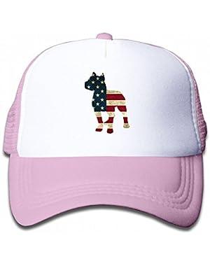 Patriotic Pitbull American Flag Youth Toddler Mesh Hats Kid Baseball Trucker Cap
