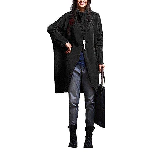 Women's Fashion Sweater,Turtleneck Asymmetric Hem Long Sleeve Sweater (Black, L) -