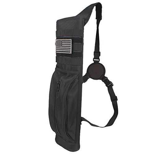 - KRATARC Archery Multi-Function Heavy Duty Back Arrow Quiver with Molle System Shoulder Hanged Target Shooting Quiver for Arrows (Black- for Right-Handed)