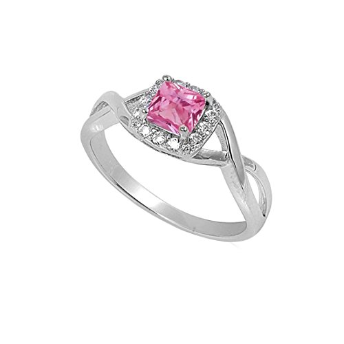 Radiant Solitaire Ring - Solitaire Infinity Shank Simulated Pink Cubic Zirconia Ring Princess Cut 925 Sterling Silver,Size-5