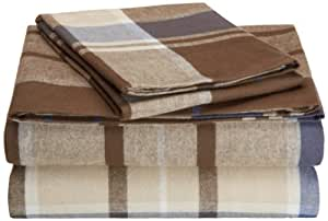 Pinzon Lightweight Cotton Flannel Sheet Set - California King, Brown Plaid