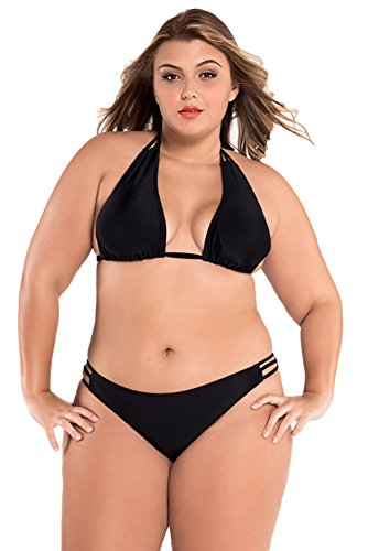 bfc8fe683597b Beauty Decor women sex plus size Swim Sexy Black Triangular String Bikini  Black XXL