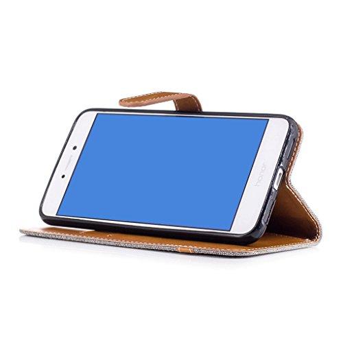 Trumpshop Smartphone Carcasa Funda Protección para Huawei P8 Lite (2017) [Oro] Estilo Vaquero PU Cuero Caja Protector Billetera [No compatible con Huawei P8 Lite] Gris