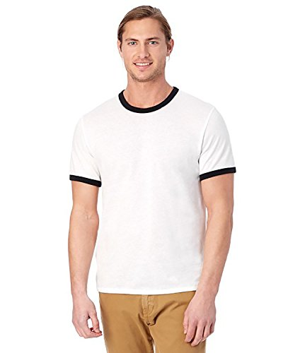 Alternative Mens Keeper Vintage Jersey Ringer T-Shirt Small White & Black -