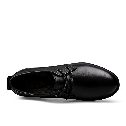 Abby Qzyyu-4003 Heren Antislip Mocassins Feestje Zakelijk Comfortabele Lichtgewicht Schoenen Veterschoenen Stuiver Loafers Ronde Neus Ademend Formele Oxfords Zwart