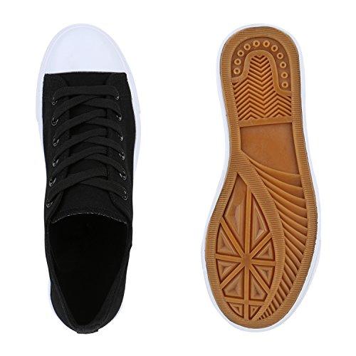 Herren Sneakers Freizeitschuhe Sportschuhe Schnürer Stoffschuhe Fitness Streetstyle viele Farben Flandell Schwarz