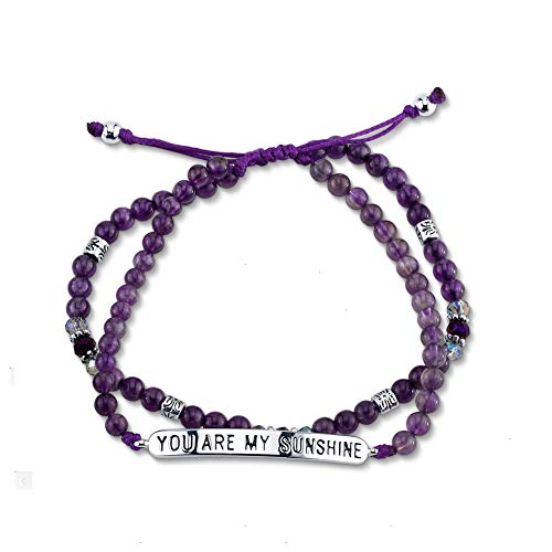 Czjewelry ''You are My Sunshine'' Purple Color Beaded Bracelets for Women Girls Lover Gift