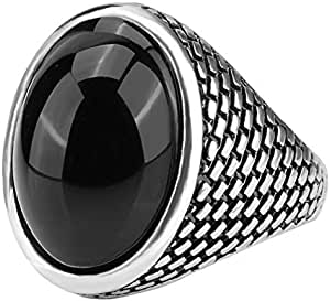 Men's Solitaire Ring Black Onyx Stone Handmade Retro atmospheric oval,Size 9 US