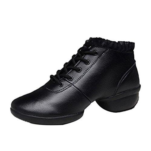 YouPue Damen Luftdurchlässig Tanzschuhe Höhle Dance Sneaker PU Leder Fitness Schuhe Turnschuh Solide Farbe Schwarz Voll
