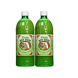 100% Authentic Key Lime Juice - 32oz (2 Pack) 2 Two 32 Oz Bottles 100% REAL KEY LIME JUICE FROM FLORIDA - Check the competition's ingredients and find Persian Limes or Tahitian Limes USES IN SWEET & SAVORY DISHES - Key Lime Pie, Cakes, Desserts, Drink Mixes, Margarita's, Cocktails, Limeades and Florida Tropical inspired Recipes and sauces NATURAL - NON GMO - OU Kosher Certified - Gluten Free