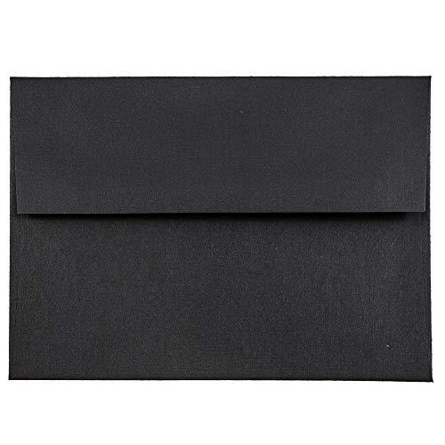 JAM PAPER A6 Premium Invitation Envelopes - 4 3/4 x 6 1/2 - Black Linen - - Invitation Tie Black