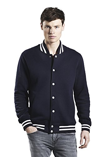 Underhood of London Black with White Stripes Varsity Jacket for Men | 100% Organic Cotton | Small -