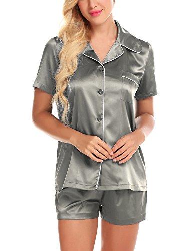 - ZHENWEI Light Pajamas for Women Fitted Sleepwear for Women Button Pjs Summer Pyjama Gray S