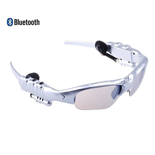 Yishun HBS Stereo Bluetooth V4.0 Music Sunglasses Handfree Headset Headphones MP3 Player for IOS Android Smartphone Ipad and Other Bluetooth-enabled Devices (Silver)