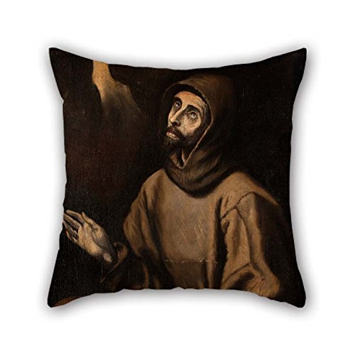 Pillow Covers 18 X 18 inches / 45 45 cm(Twice Sides) Nice Choice Bedding Outdoor Kids Boys Monther Seat Father Oil Painting Blas Mu?oz - The Ecstasy St Francis Assisi