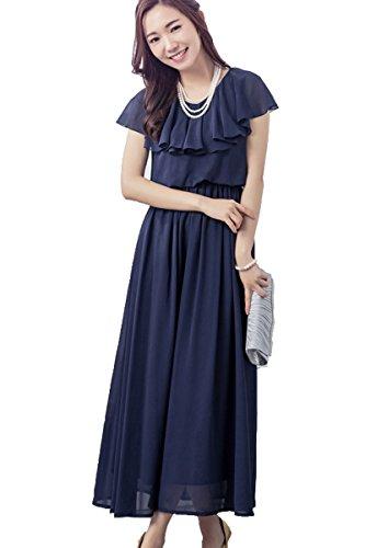 82b2c8badf97a ACUX(エックス) ロングドレス シフォン フォーマル パーティードレス 結婚式 ワンピース 大きいサイズ 袖