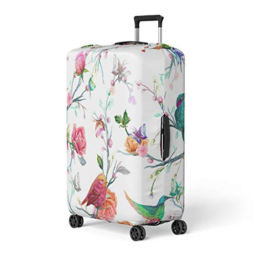 Pinbeam Luggage Cover Vintage Bird Butterfly and Flower Leaf Branch Imitation Travel Suitcase Cover Protector Baggage Case Fits 18-22 inches ()