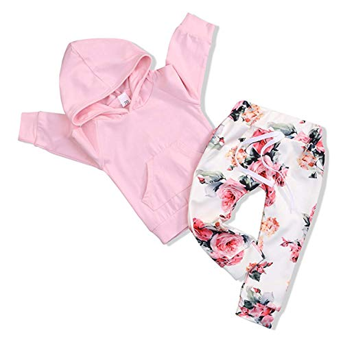 Toddler Baby Girl Clothes Long Sleeve Newborn Hoodie Sweatshirt and Infant Floral Long Pants Outfit Sets Kids Clothes (0-6M 70)