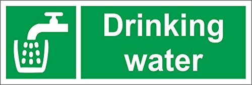 INDIGOS UG - Sticker - Safety - Warning - Drinking Water Safety Sign - Self Adhesive Sticker 150mm x 50mm