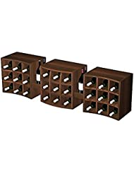 3 Individual Curvy Cubes Wall Mount Unit With Display Trays For 27 Bottles Premium Redwood With Dark Walnut Stain