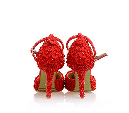 Minitoo Ladies Flowers Satin Bridal Wedding Pumps Shoes Red-9cm Heel Y8f7Nl