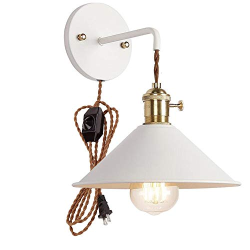 (Plug-in Dimmable Wall Sconce Lamps Lighting Fixture Within-line Cord Dimmer Switch,White Macaron Wall lamp E26 Edison Copper lamp Holder with Frosted Paint Body Bedside lamp Bathroom Vanity)