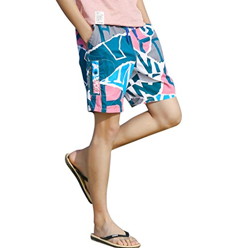 NUWFOR Men's Summer New Cotton Printed Short Sleeves Fashion Loose Size Beach Pants(Pink,US XL Waist:30.71-38.58'') by NUWFOR (Image #4)