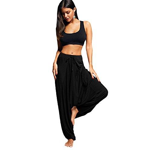 BeautyGal Women's Drop Bottom Harem Pants Drawstring Elastic Waist Loose Fit Hippie Baggy Yoga Pants(Black L)