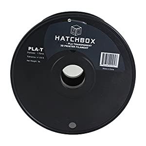 HATCHBOX 3D PLA-1KG1.75-TBLK PLA 3D Printer Filament, Dimensional Accuracy +/- 0.05 mm, 1 kg Spool, 1.75 mm, Transparent Black from HATCHBOX