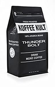 Thunder Bolt Coffee French Roast Colombian Freshly Roasted Restaurant Quality Gourmet Coffee - Ideal for French Press, Drip Coffee from Koffee Kult