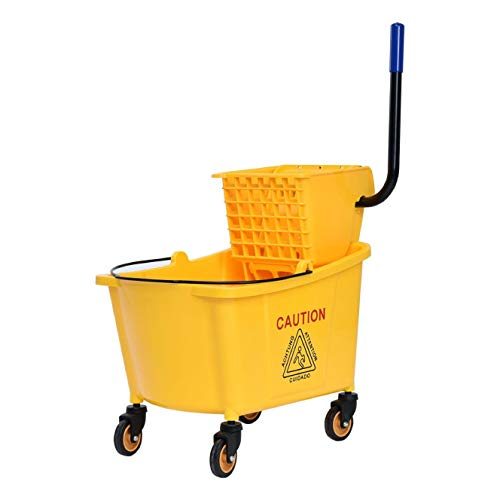 - Household Cleaning Supply, 31 Quart Side Mop Bucket Press Wringer