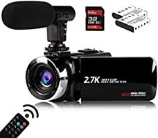 Video Camera Camcorder with Microphone, Vmotal 2.7K HD 42.0 MP 18X Digital Zoom 1080P IR Night Vision Vlogging YouTube...