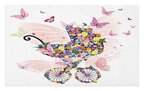 Lunarable Butterflies Doormat, Stroller of Flowers and Butterflies Carriage Cart Celebration Baby Shower Theme, Decorative Polyester Floor Mat with Non-Skid Backing, 30 W X 18 L Inches, Multicolor ()