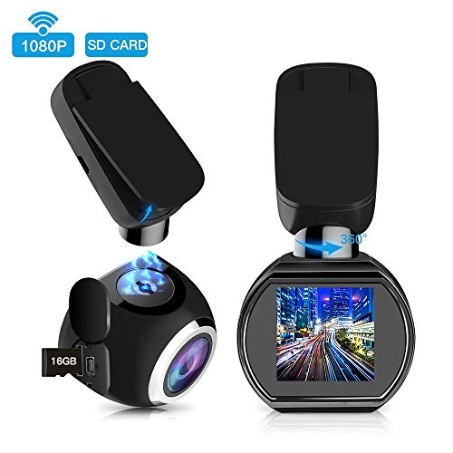 HQBKING Dash Cam WiFi FHD 1080P Car Camera Mini 1.5″ LCD 360°Rotate Angle Dashboard Camera DVR Recorder with G-Sensor,Night Vision,Motion Detection,WDR and 16G SD Card Included