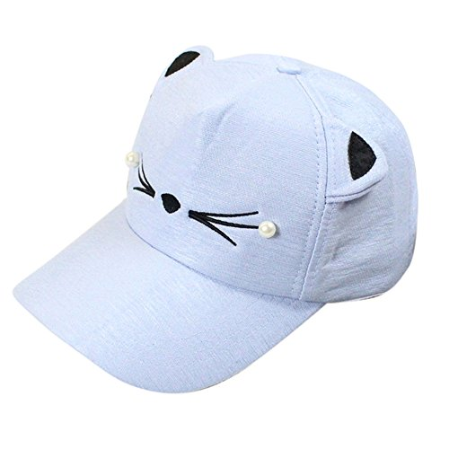 Pearl Blue Toronto (TWGONE Womens Baseball Cap Spring Fashion Tide Pearl Wild Cute Student Cat Ears Visor Baseball Cap(Light Blue,One Size))