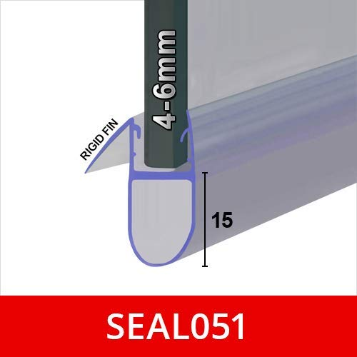 Shower Seal for Screens, Doors or Panels | Fits 4, 5 or 6mm Glass | Round Bubble Shape Seals Gaps of Up to 15mm | 80cm…