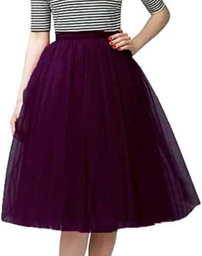 4a7f09001e3 Fitty Lell Women s A Line Short Knee Length Tulle Prom Party Skirt Formal  Evening Skirts