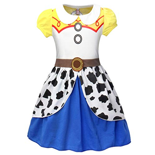 HenzWorld Jessie Costumes Dress Halloween Princess Birthday Party Cosplay Outfits Cowgirls Dots 5-6 Years (Toy Story Dress Women)