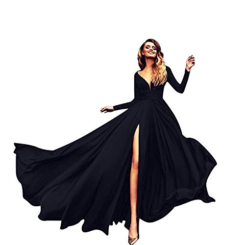 FAPIZI Women Sleeveless Solid Strappy V-Neck Lace Cocktail Wedding Casual Bridesmaid Gown Long Dress Black