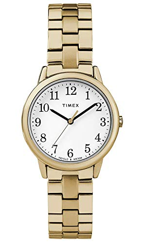 Timex Ladies Easy Reader White Dial on Gold Tone Stainless Steel Bracelet ()